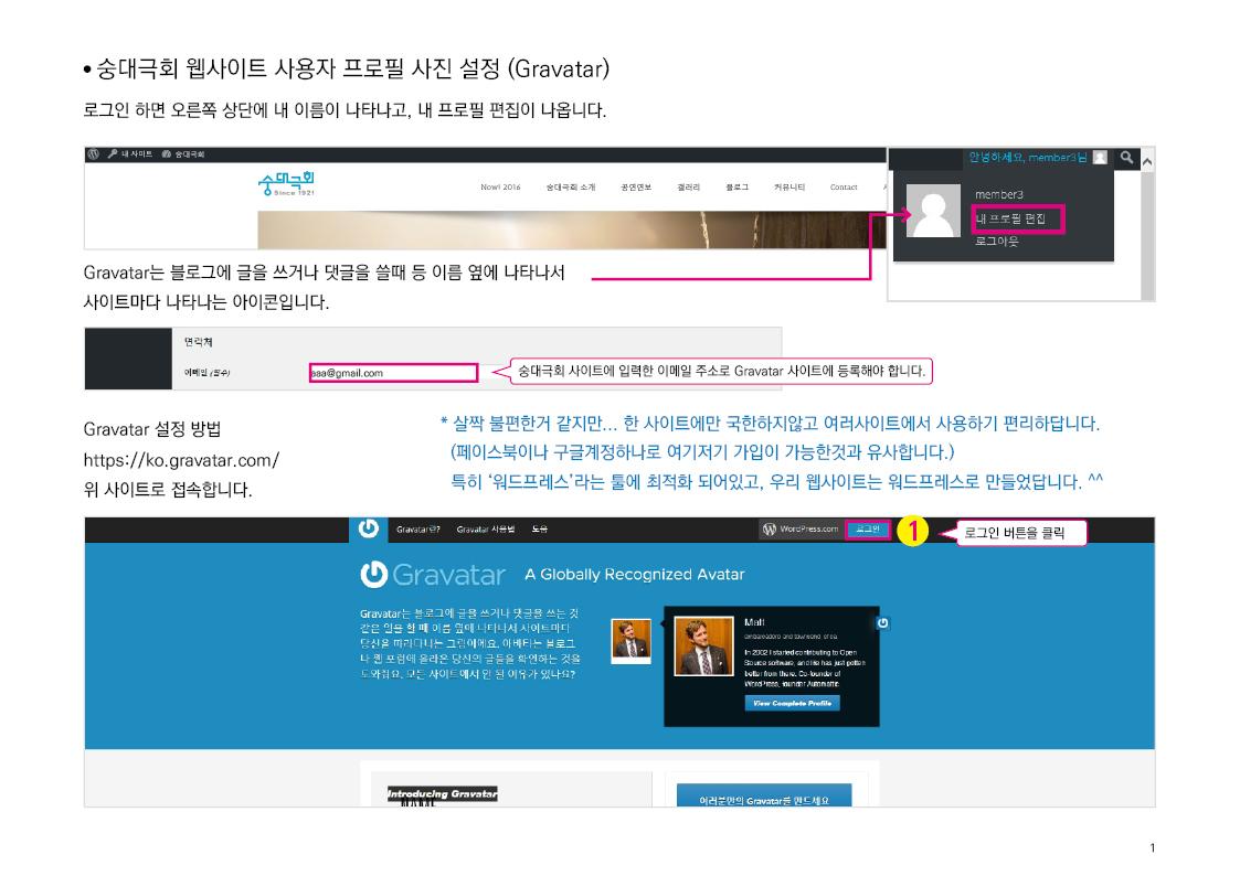 숭대극회 웹사이트 사용자 프로필 사진 설정 (Gravatar) 1